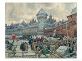 Ancient Moscow, Departure After a Fight Giclée-Druck von Apollinari Mikhailovich Vasnetsov
