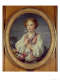 Young Boy with a Basket of Flowers Giclee Print by Jean-Baptiste Greuze