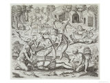 Cannibals in Darien, Panama, Capturing Spaniards, Gottfried, Pub. Merian, Frankfurt, 1631 Lámina giclée por Theodor de Bry