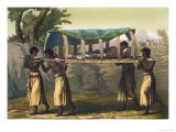 Rich Native of the Congo Carried by Slaves, Plate 46 Le Costume Ancien et Moderne, c.1820 Giclee Print by Gallo Gallina