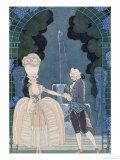 Love under the Fountain, Illustration For Fetes Galantes by Paul Verlaine Giclee Print by Georges Barbier