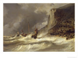 Storm on the Coast at Etretat, Normandy, 1851 Giclee Print by Louis Eugene Gabriel Isabey
