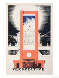 Perspective, the Guillotine Facing the National Assembly, Parlons Francais by Paul Iribe Giclee Print by Paul Iribe