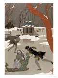 Ice Skating on the Frozen Lake, Illustration For Fetes Galantes by Paul Verlaine Giclee Print by Georges Barbier
