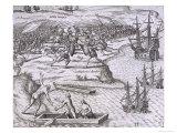 Battle in Jamaica Between Christopher Columbus Giclee Print by Theodor de Bry