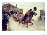 First Rider of the Pony Express Leaves St Joseph, Missouri, 1860 Giclee Print