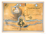 Map of the Alamo Area in San Antonio Based on Santa Anna's Original Battlefield Map, 1836 Giclee Print