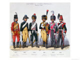 Costumes of French Cavalrymen from 1743 to 1840 Giclee Print by Charles Vernier