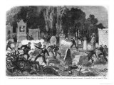 Agony of the Commune, Last Fights in the Cemetery of Pere Lachaise, Engraved by L.J.A. Daudenarde Giclée-Druck von Daniel Urrabieta Vierge