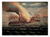 USS Monitor Fighting the CSS Merrimack, Battle of Hampton Roads, American Civil War, c 1862, Giclee Print
