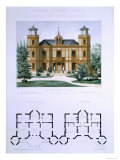 Small Country House Near Paris, Engraved by Walter, Plate 7, Architecture Pittoresque et Moderne Giclee Print by Andre Marty