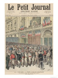 The Start of the Road Race from Paris to Belfort, from Le Petit Journal, 18th June 1892 Giclee Print by Henri Meyer