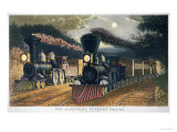 The Lightning Express Trains, 1864 Giclee Print by  Currier & Ives