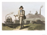 Blenkinsop Locomotive at Middleton Colliery Near Leeds, Costume of Yorkshire Engraved Havell Giclee Print by George Walker