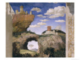 Landscape with a Castle, from the Camera Degli Sposi or Camera Picta, 1465-74 Giclee Print by Andrea Mantegna