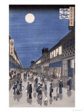 Night Time View of Saruwaka Street, from Meisho Edo Hyakkei Wydruk giclee autor Ando Hiroshige