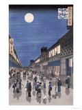 Ando Hiroshige - Night Time View of Saruwaka Street, from Meisho Edo Hyakkei - Giclee Baskı