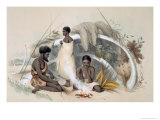 Natives of Encounter Bay, Making Cord For Fishing Nets, from South Australia Illustrated, Pub.1847 Giclee Print by George French Angas