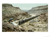 Postcard of a Train of the Santa Fe Railroad Passing Through Crozier Canyon, Arizona Giclee Print