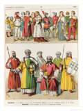 Spanish and Moorish Dress, c.1300, from Trachten Der Voelker, 1864 Giclee Print by Albert Kretschmer