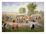 Mormon Pioneers Pulling Handcarts on the Long Journey to Salt Lake City in 1856 Giclee Print
