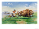 Sioux Hunting Buffalo on Decorated Pony Giclee Print