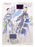 Sketches and Fabric Swatches, from L'Officiel de La Couleur Des Industries de La Mode Giclee Print