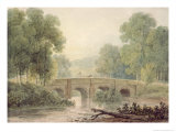 Woody Landscape with a Stone Bridge over a River Giclee Print by George The Younger Barret