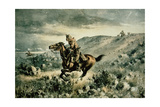 Pony Express Pursued by Indians, 1900 Giclee Print by Henry W. Hansen