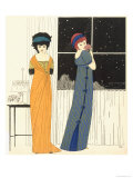 Two Empire Line Evening Dresses, from Les Robes de Paul Poiret 1908 Giclee Print by Paul Iribe