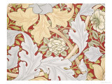 Acanthus Leaves, Wild Rose on Crimson Background, William, Morris Giclee Print by William Morris