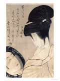 Young Woman Applying Make-Up, c.1795-96 Giclee Print by Kitagawa Utamaro