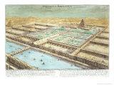 View of Ancient Babylon, Plate 3, Entwurf Einer Historischen Architektur, Engraved Delsenbach Giclee Print by Johann Bernhard Fischer Von Erlach