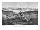 Reindeer Hunting During the Late Ice Age, High Souabe, After Sketch by Professor Klaatsch, c.1900 Reproduction proc&#233;d&#233; gicl&#233;e par Wilhelm Kranz