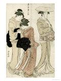 Young Woman Wearing a Wide Straw Hat, Companion Carrying a Furoshiki, Fuzoku Azuma No Nishiki Giclee Print by Torii Kiyonaga