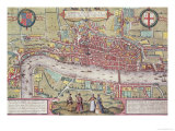 Map of London, from Civitates Orbis Terrarum by Georg Braun Giclee Print by Joris Hoefnagel