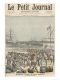 Landing of the Senegalese Troops at the New Wharf in Cotonou, Le Petit Journal, 21st May 1892 Giclee Print by Henri Meyer