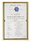 Menu from the Empire Club, 17th March 1884 Giclee Print