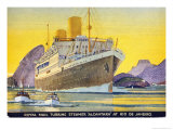 Postcard Depicting the Royal Mail Turbine Steamer Alcantara at Rio de Janeiro, 1930S Giclee Print by Kenneth Shoesmith