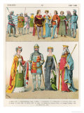 English Dress, c.1300-1400, from Trachten Der Voelker, 1864 Giclee Print by Albert Kretschmer