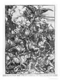 Scene from the Apocalypse, the Four Horsemen, Death, Famine, Pestilence and War, Latin Ed., 1511 Giclee Print by Albrecht Dürer