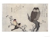 Owl and Two Eastern Bullfinches, Birds Compared in Humorous Songs, c.1791 Lmina gicle por Utamaro Kitagawa