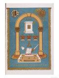 Masonic Lodge Emblem Showing Pillars and Various Symbols Giclee Print