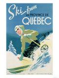 Werbeposter für Skiferien in der Provinz Quebec, ca. 1938, Französisch Giclée-Druck