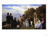 Empress Eugenie and Her Court at Biarritz, 1861 Giclee Print by Abel De Pujol