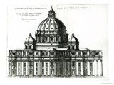 The Exterior of St. Peter&#39;s Basilica in Rome, from Orthographia Partis Exterioris Giclee Print by Etienne Duperac