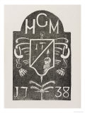 Rubbing of a Cornerstone Depicting Masonic Symbols, Dated 1738 Giclee Print