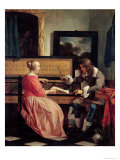 Man and a Woman Seated by a Virginal, c.1665 Giclee Print by Gabriel Metsu
