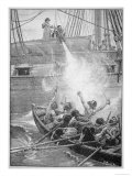 Repelling Pirates with a Blast of the Swivel Gun Giclee Print by Paul Hardy