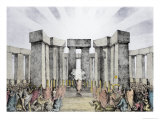 Stonehenge, Druids Sacrificing to the Sun in Their Temple Giclee Print by Nathaniel Whittock
